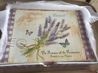 Set of 6 lavender table mats in storage tray
