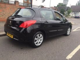 BARGAIN PEUGEOT 308 NAV VERSION HDI 55k mileage (SATNAV) BARGAIN BLACK 1.6 DIESEL £20 ROAD TAX
