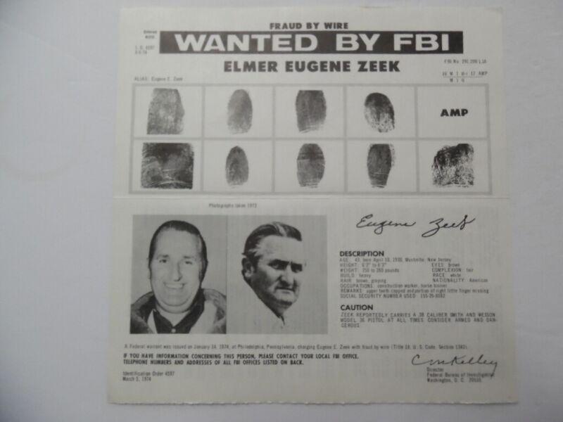 1974 Elmer Eugene Zeek FBI Wanted Poster Fugitive Horse Trainer Fraud Grenada