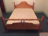 Pine Wooden Double Bed & Mattress