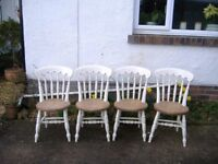 set of 4 antique kitchen chairs