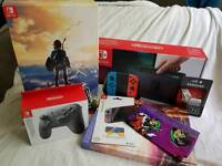 Nintendo Switch Ltd Neon Edtion & Ltd Zelda & Official Pro Controller with 256gb Micro SD etc.