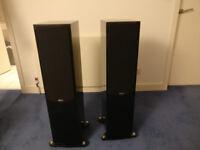 Quad 22L2 floorstanding speakers in piano black