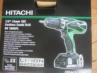 Details about  Hitachi DV 18 DSFL 18V Li-ion Cordless Drill 2 x 1.5Ah Batteries, hard Case NEW