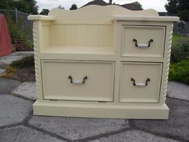 Shabby chic Solid Pine Farmhouse Country Telephone Table /Seat In Farrow & Ball Cream No 67