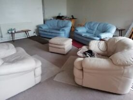 four 4 Leather Sofa's / Settees ..... and one Leather Footstool .. House Clearance ....