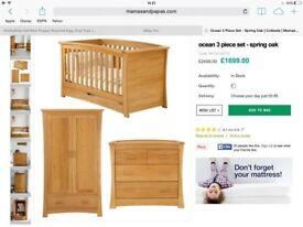 Solid oak nursery furniture set