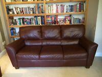 Real Italian leather three seater sofa