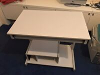 Computer Desk Light Grey Colour. Solid and Sturdy Well Made Desk on Wheels VGC