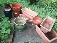 selection of plastic garden pots