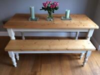Pine dining table and bench