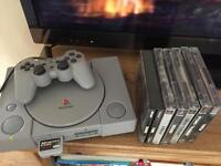 1 PlayStation 1 ps1 bundle with 6 games