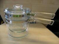 Pyrex Clear Glass Pans Set of 2 Nesting with Lid for Gas Hobs Flamewear from USA
