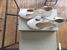Hobbs Amelie T-Bar Heels in White- Very Good Condition!!