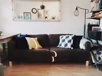 Comfortable 3 Seater IKEA Karlstad Brown Couch / Sofa in Excellent Condition