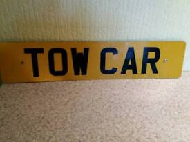 Number plate Tow car
