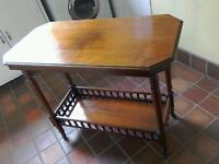 Antique Victorian table buffet two tiers pot casters turned spindles mahogany