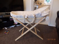 kiddi care moses basket with mattress and stand