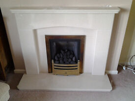 Marble effect fireplace and gas fire
