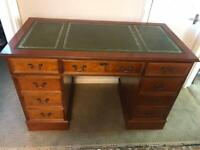 Leather top pedestal desk with key