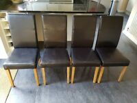 6 Dining Chairs, Black Faux Leather, Good Condition
