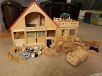 ELC wooden dolls house and lots of accessories