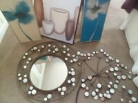 decorative mirror and matching wall art plaque plus 3 prints