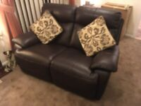 Chateau d'Ax Sofa - 2 seater brown leather double recliner 4 yrs old