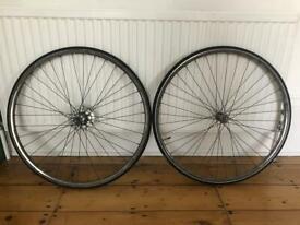 Pair of bike wheels with tyres