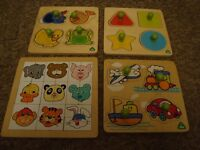 BABY/TODDLER/CHILDRENS EARLY LEARNING WOODEN PUZZLES X4