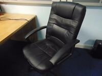 Black leather effect office chair, adjustable height and back, selling due items due to office move