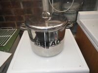 round stainless steel bread bin