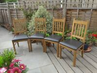 Set of 4 solid oak dining/kitchen chairs