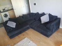 Black corner sofa.