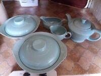 Beryl Ware Teapot, gravy boat, milk jug and 2 vegetable tureens - Woods ware of England