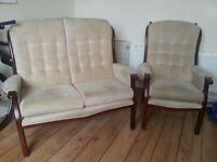 2 seater settee sofa WOOD & FABRICS. Vintage design. Washable covers