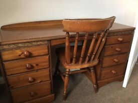 Antique pine dressing table, chair, chest of drawers and double bed head board