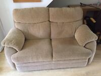 2 seater beige/brown fabric sofa with matching reclining chair, great condition. COLLECTION ONLY!