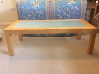 Solid Maple Wood And Tempered Glass Coffee Table
