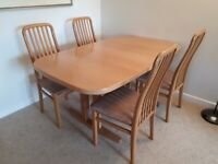 Light Oak Extending Dining Table and 4 Chairs - Tapley