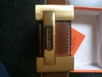 Hermes Belt - gold buckle, tan leather, up to 35 inch