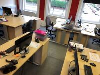 Good Quality Office Furniture - 7 Desks and 7 Sets of Drawers