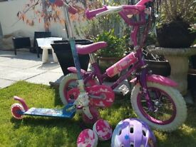 Childs bike and scooter, aged 4 years plus
