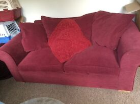 2 seater sofa bed, dark red