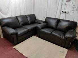 Brown Buffalo leather double padded 3&2 seater sofas