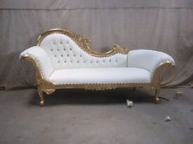 NEW 3 PIECE Paris Chaise Longue French Sofa set - Gold & White - Luxury Asian Wedding Chic Furniture