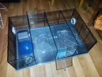 Hamster cage + accessories + bedding
