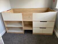 Mid sleeper cabin bed with storage