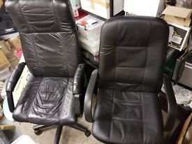 2-off office chairs, black, high back, used.