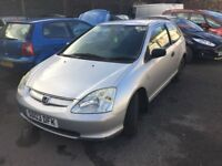 Sporty looking low insurance Honda Civic 3 door in silver 3 door with 12 months mot , px welcome